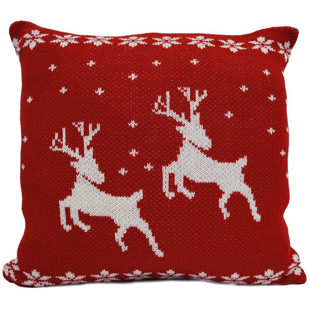 Luxury Knitted Reindeer Christmas Cushion - Red & White