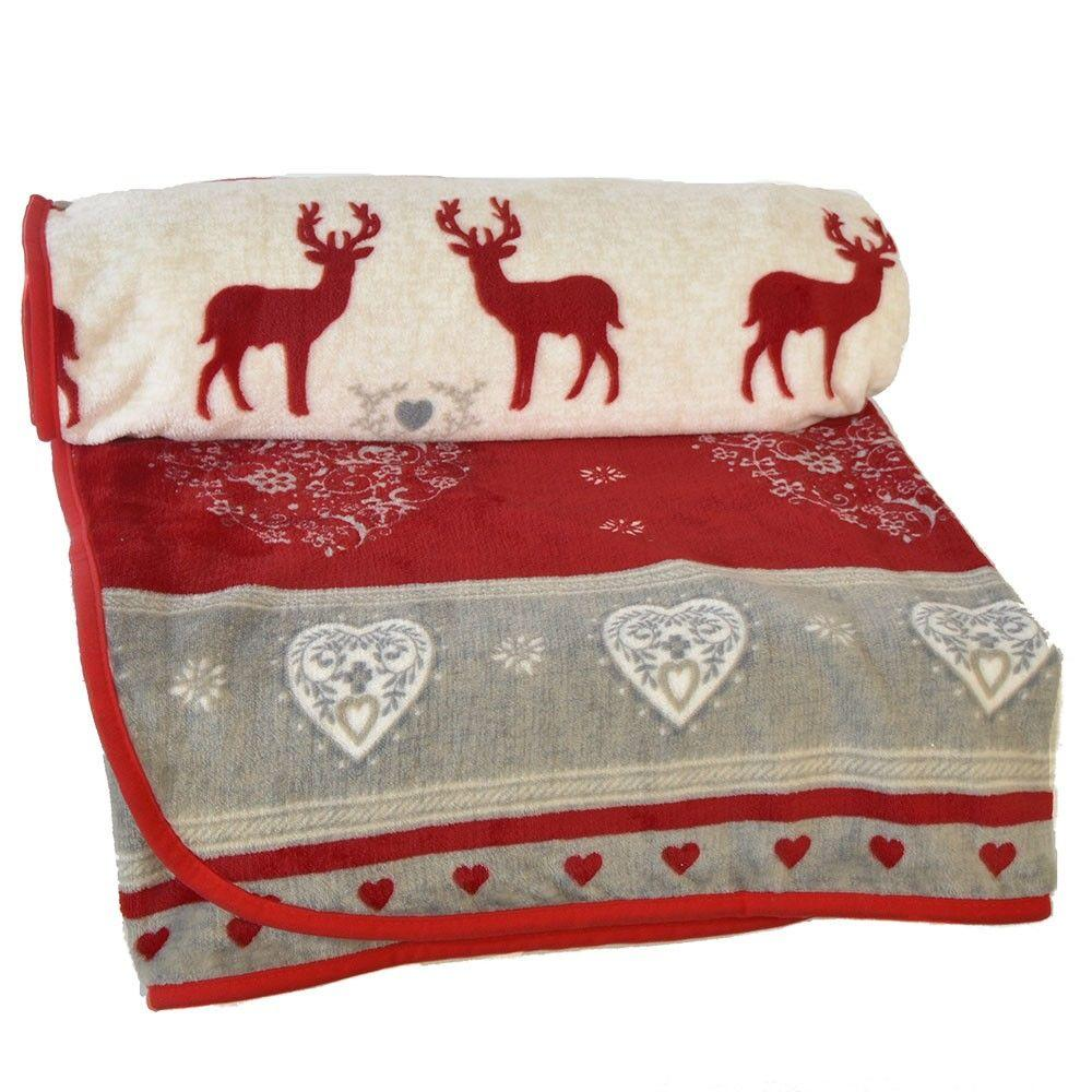 Christmas Reindeer & Snow Pattern Fleece - Red & White