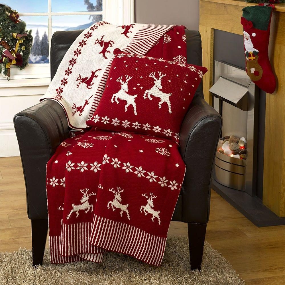 Luxury Knitted Reversible Throw - Red & White