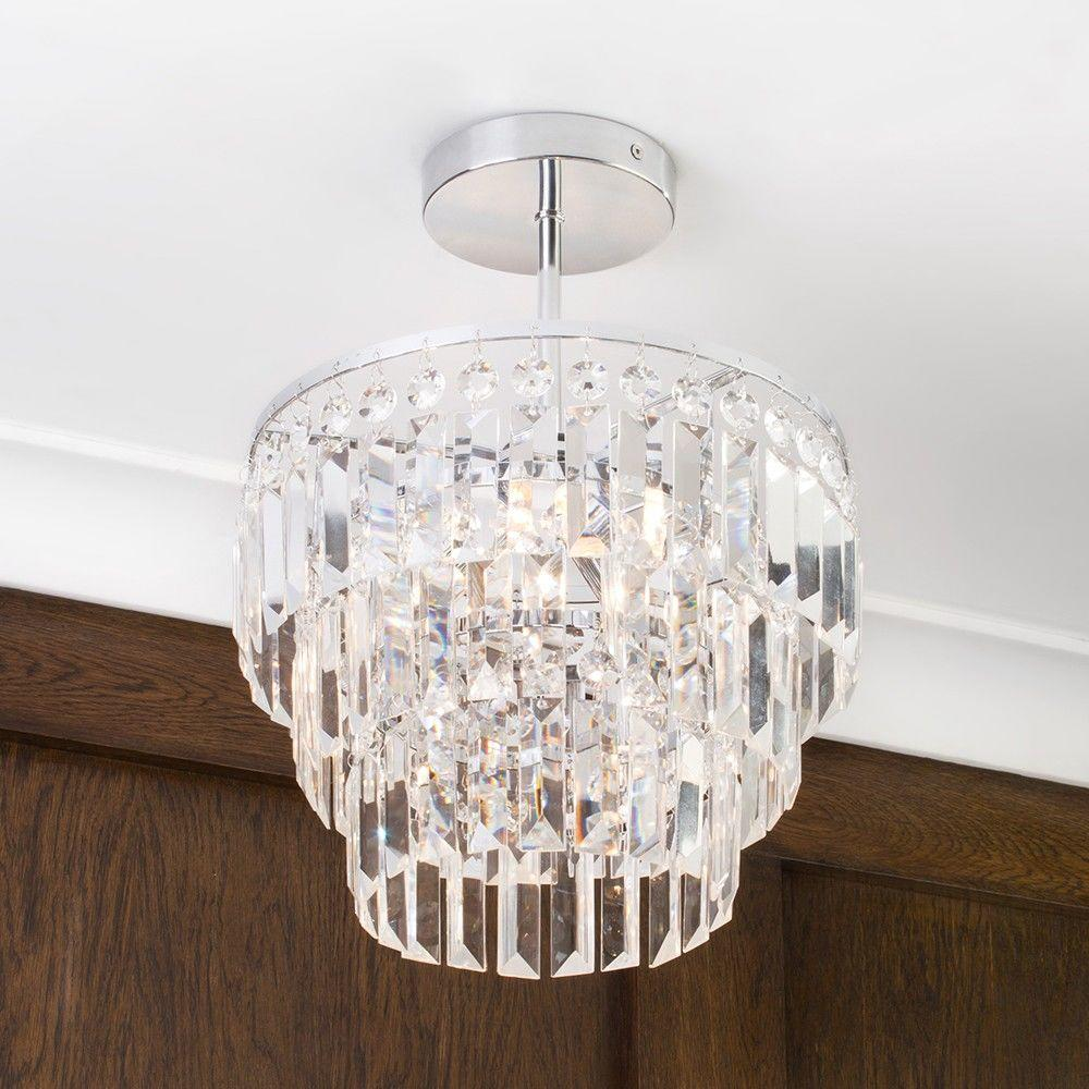 Home Spa - Vasca Crystal Bar Bathroom Chandelier Semi Flush - Chrome
