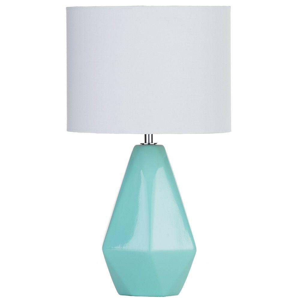 Home Spa - Ceramic Table Lamp with Drum Shade - Aqua