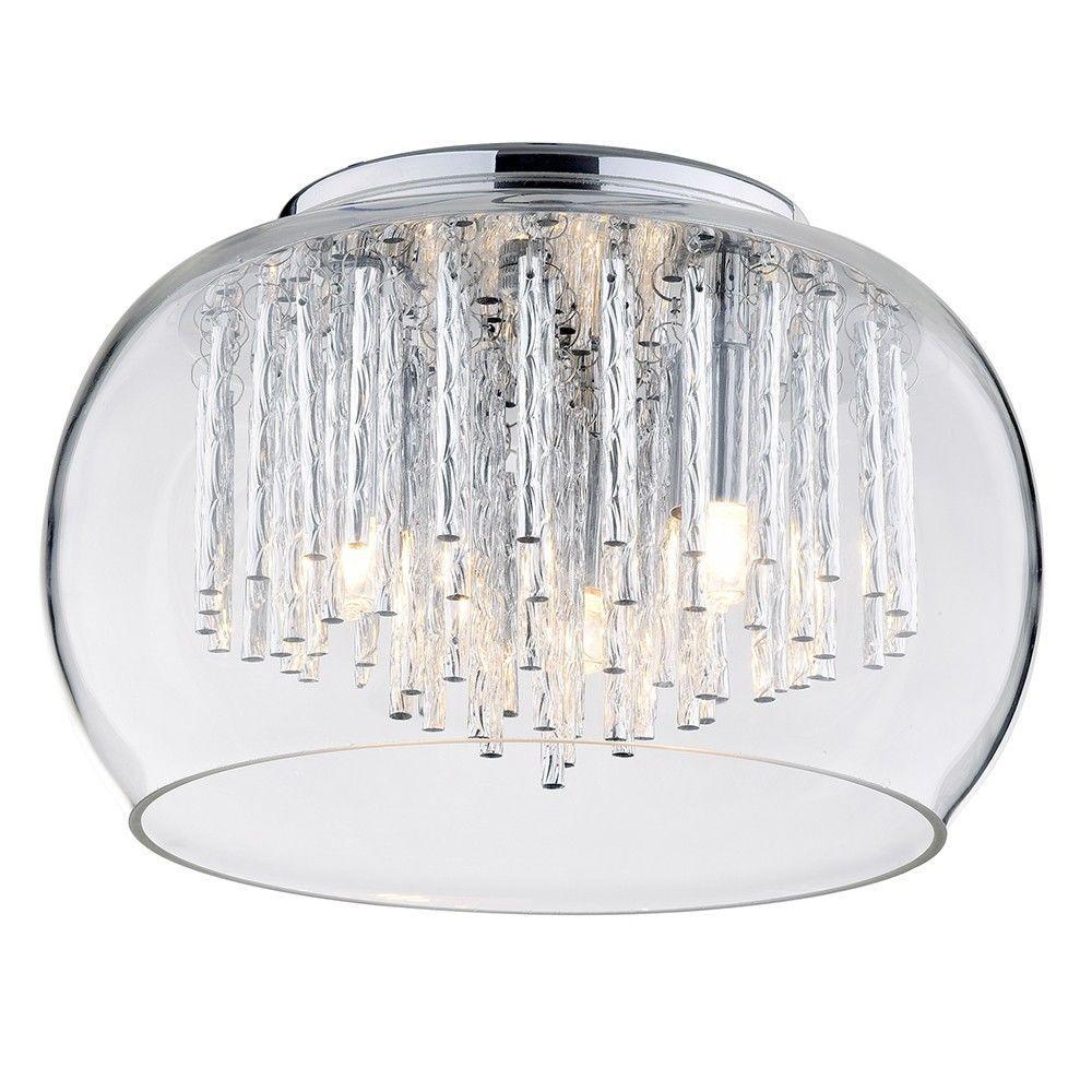 New 3 Light Flush Ceiling Bowl Shade with Aluminium Rods - Chrome & Glass