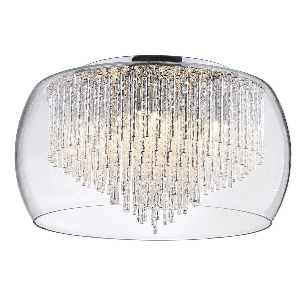 New 5 Light Tiered Glass Shade with Aluminium Rods - Chrome & Glass