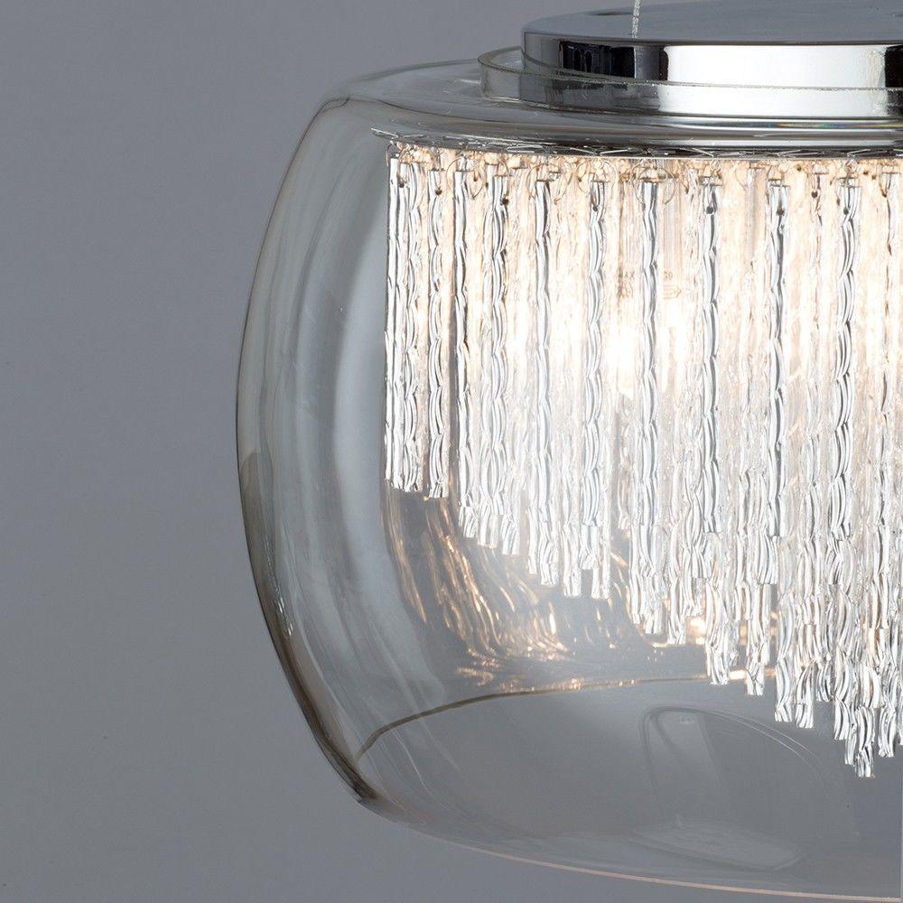 New 5 Light Flush Ceiling Bowl Shade with Aluminium Rods - Chrome & Glass