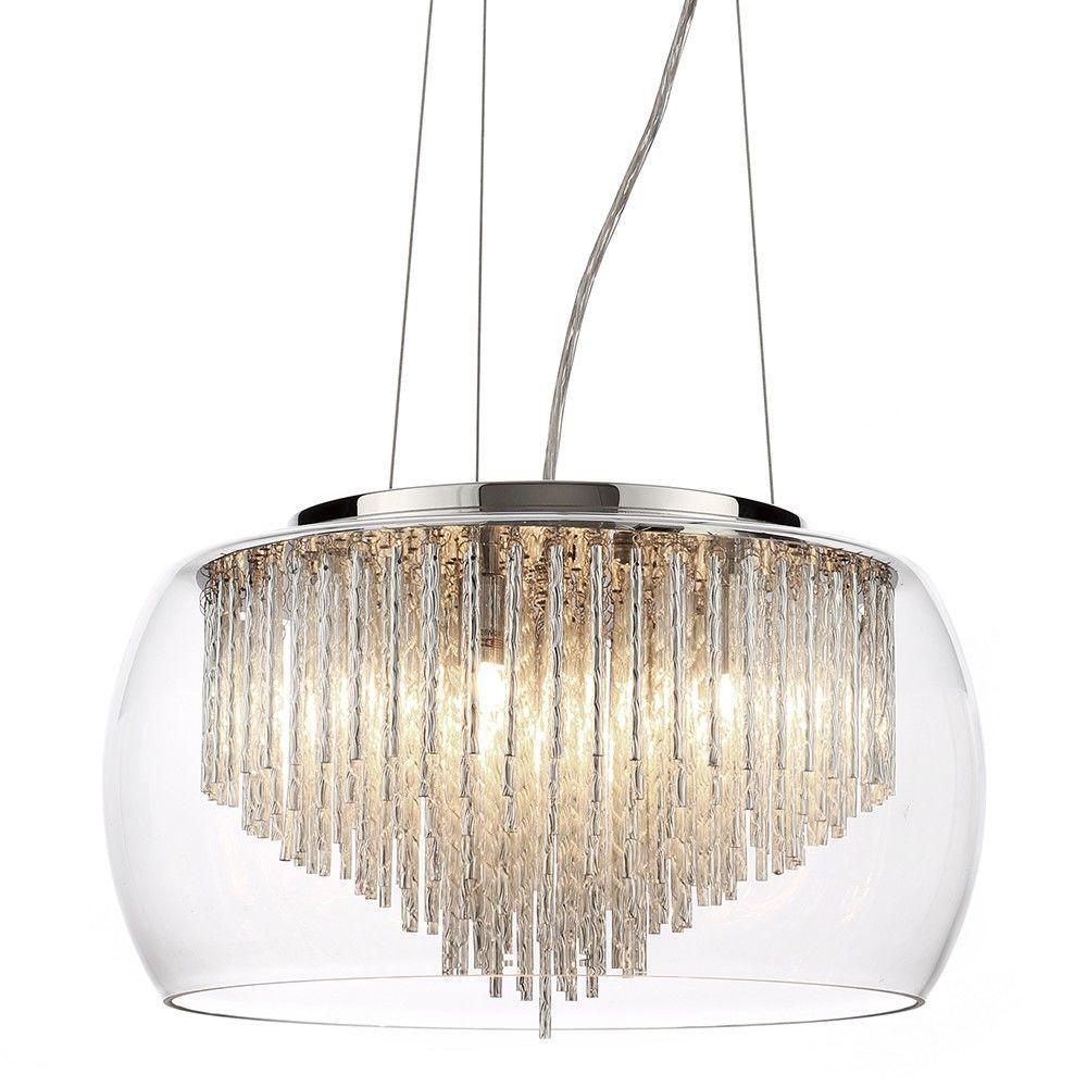 5 Light Flush Ceiling Bowl Shade with Aluminium Rods - Chrome & Glass