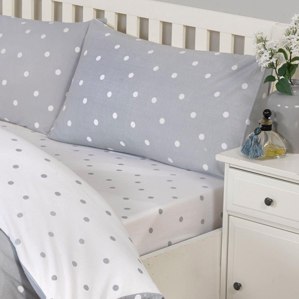Mellow yellow decor ideas polka dot kingsize fitted sheet grey
