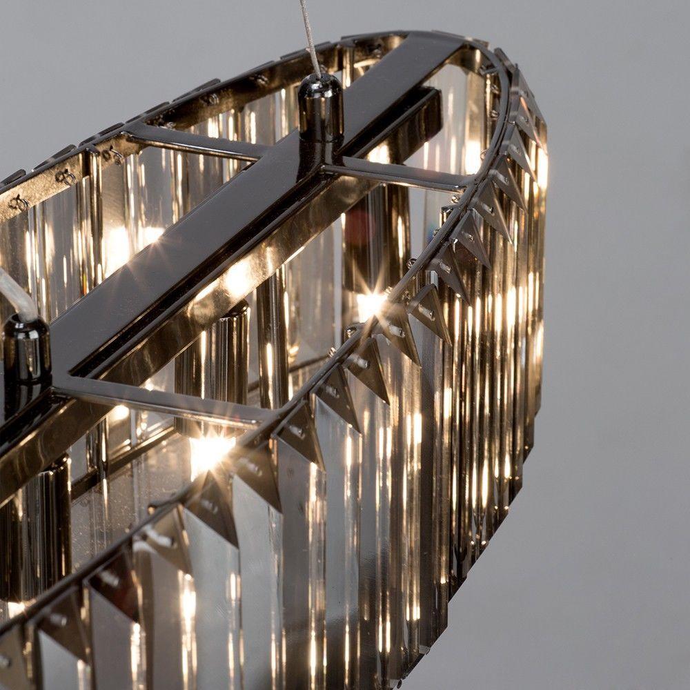 5 Light Chisel Prism Bar Ceiling Pendant - Smoke