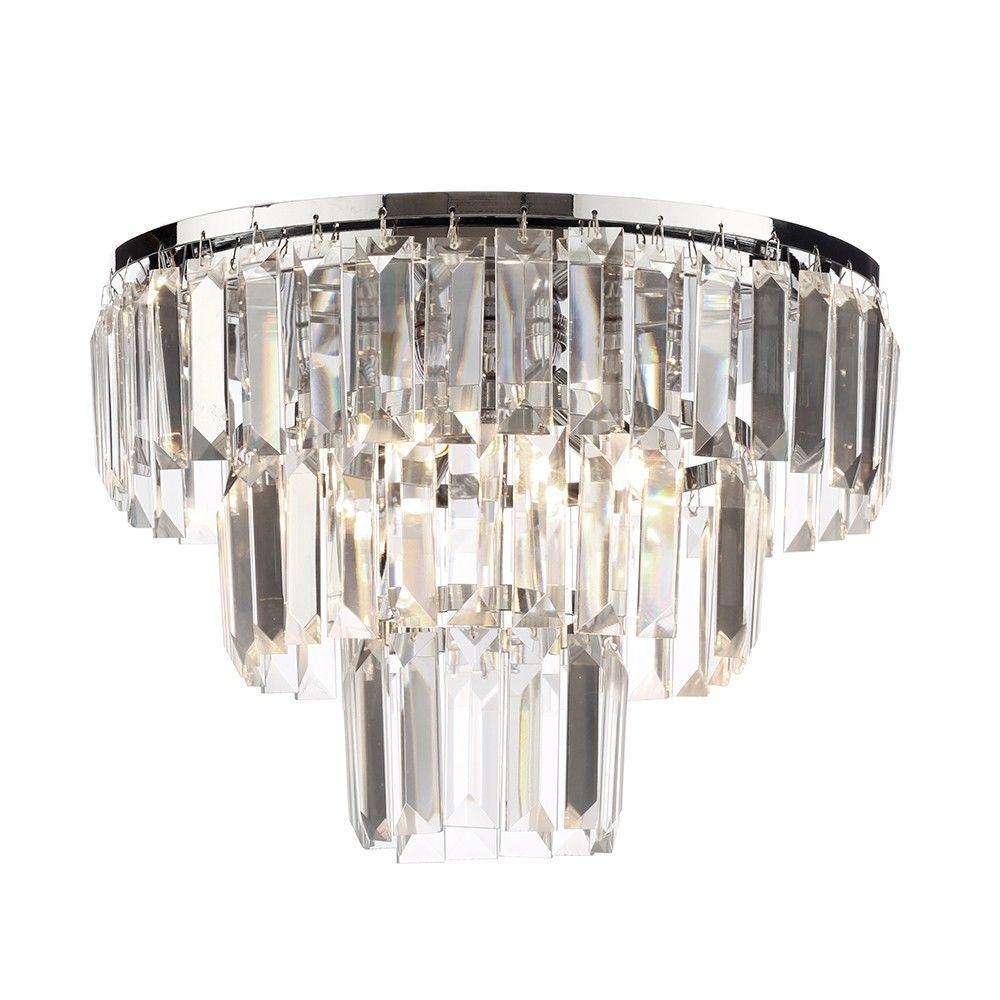 Prism 3 Tier Crystal Flush Ceiling Light - Chrome & Glass