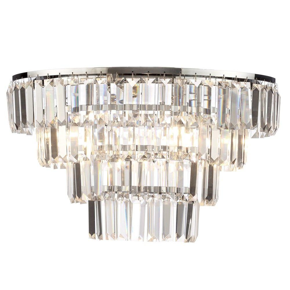 Prism 4 Tier Crystal Flush Ceiling Light - Chrome & Glass