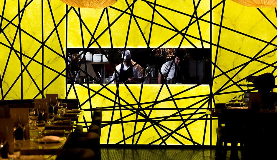 yellow interior feature wall Fumo mcr
