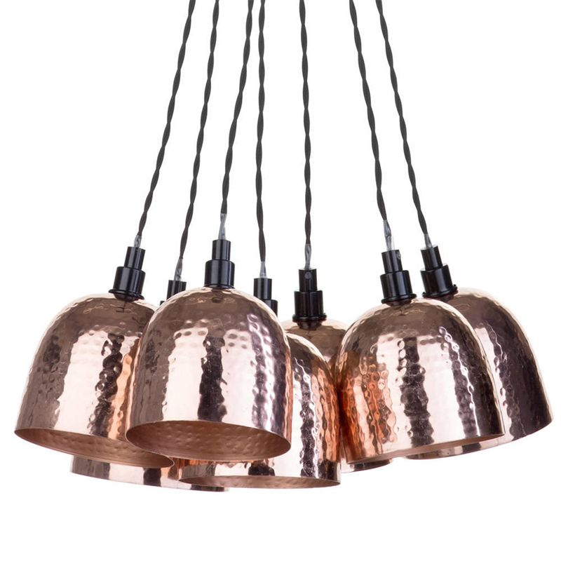 7 Light Cluster Ceiling Pendant with Hammered Shades - Copper