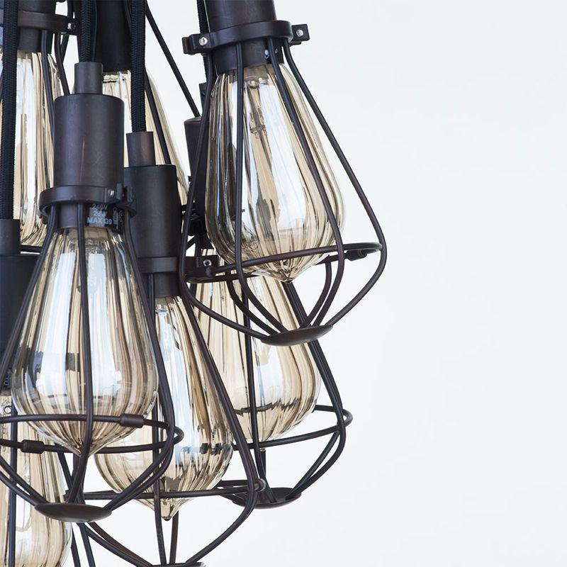 7 Light Vintage Cluster Ceiling Pendant - Bronze