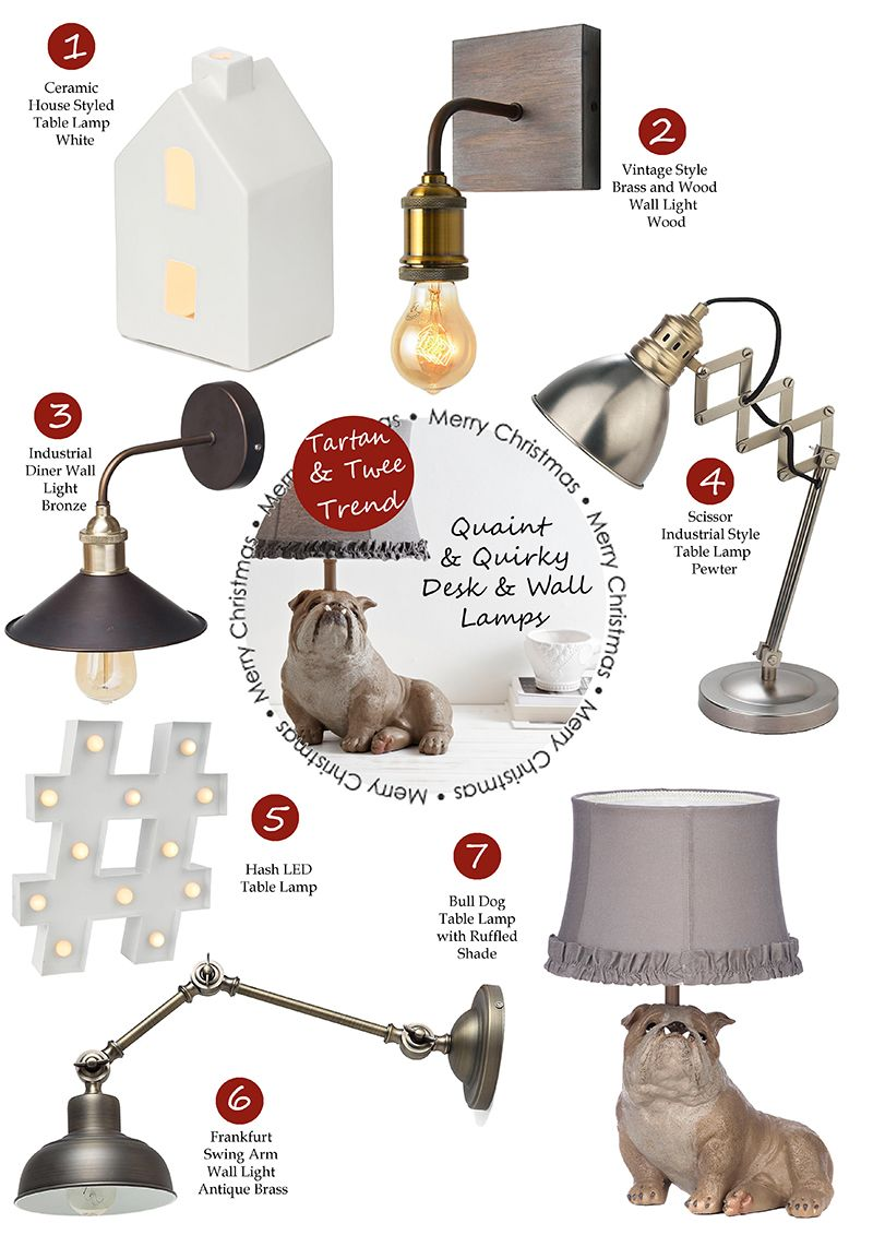 quaint and quirky desk and wall lamps