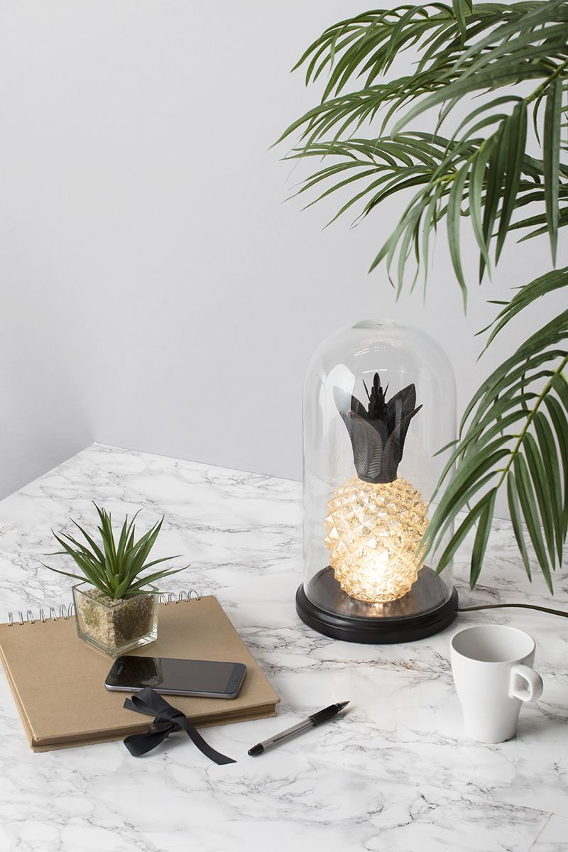 Adding Greenery to your Home - Pineapple Bell Jar Table Lamp