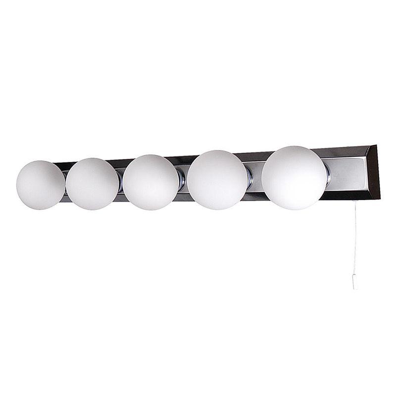 Tasmieno 5 Light Opal Glass Bathroom Strip Light - Chrome