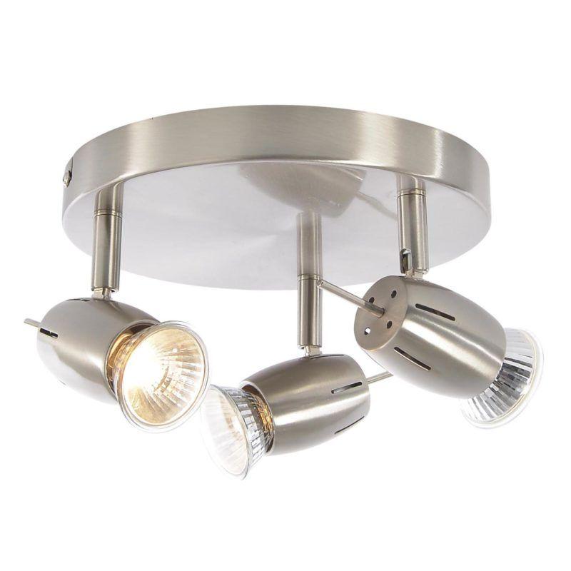 Satin Nickel Spotlight Plate with 3 Adjustable Heads