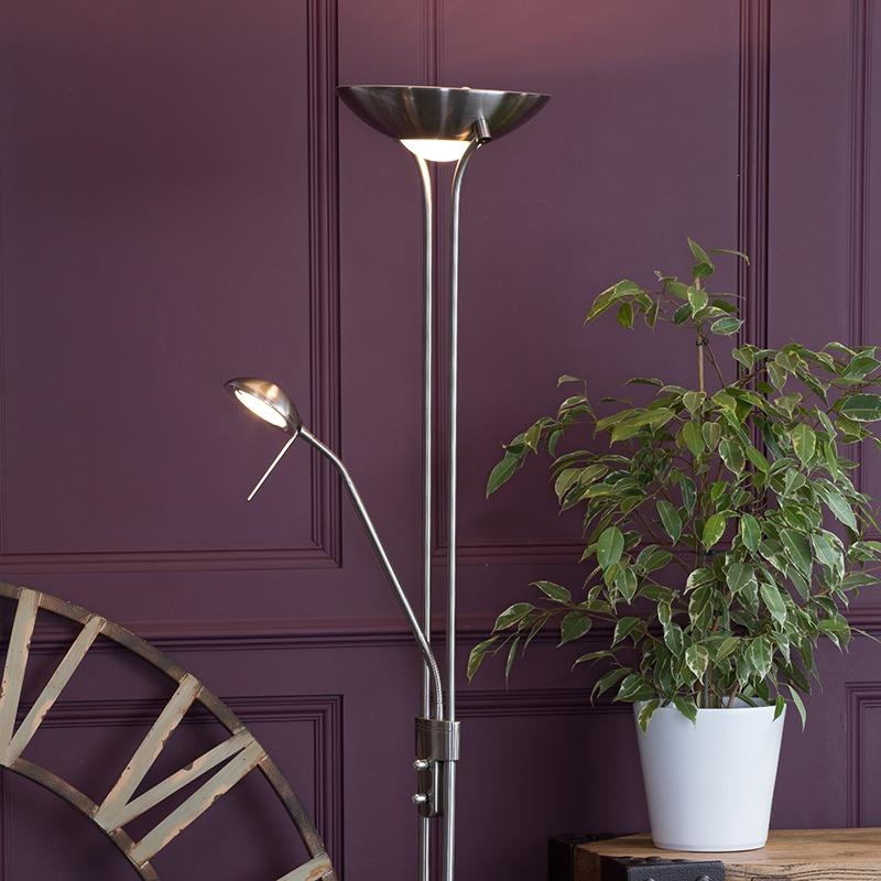 Mother & Child Floor Lamp in Antique Brass