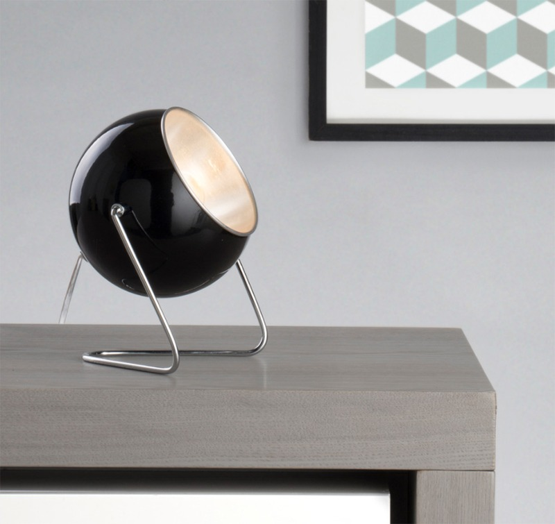 Black Eye Ball Table Lamp with Geometric Image - Litecraft