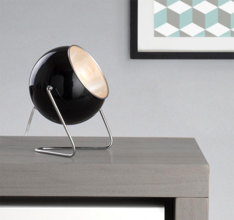 Black Eye Ball Table Lamp with Geometric Image - Litecraft