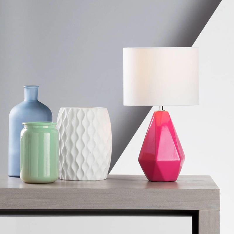 Ceramic Pink Geometric Inspired Table Lamp