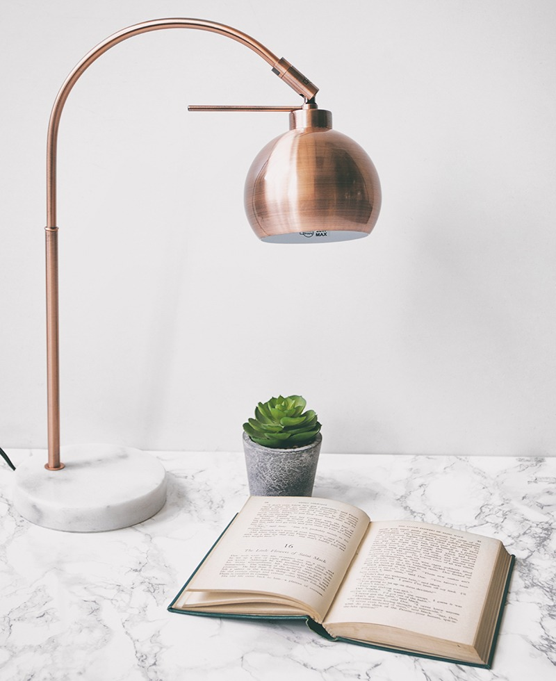 Litecraft Copper Table Lamp with Marble Base