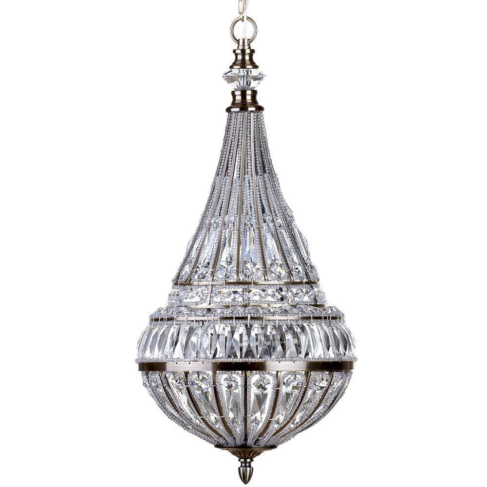 3 Light Ornate Crystal Droplet Tear Drop Ceiling Pendant - Antique Brass