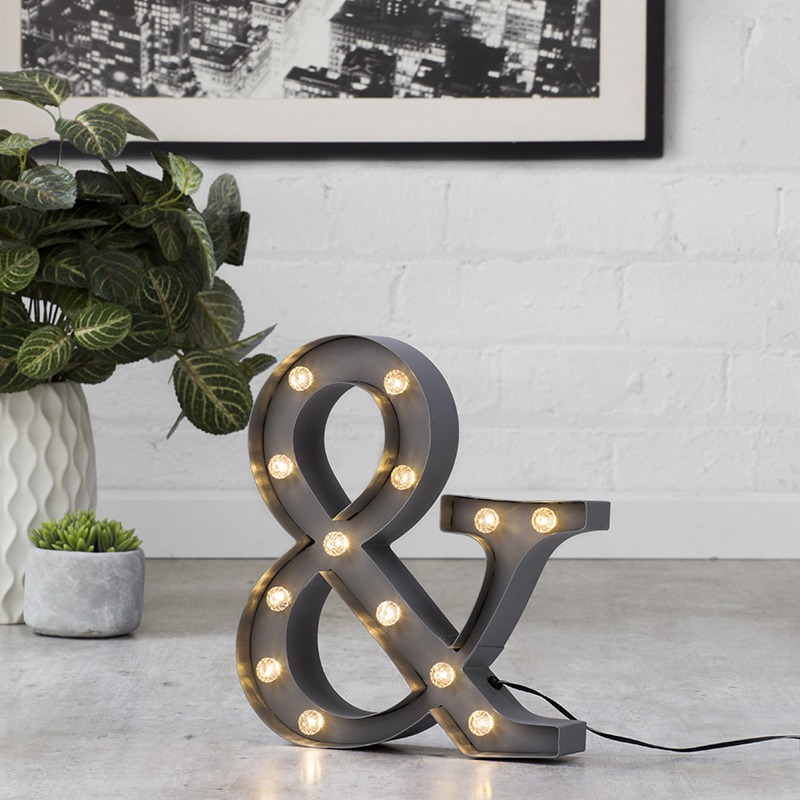 Ampersand Shaped Novelty Marquee Sign Party Light from Litecraft