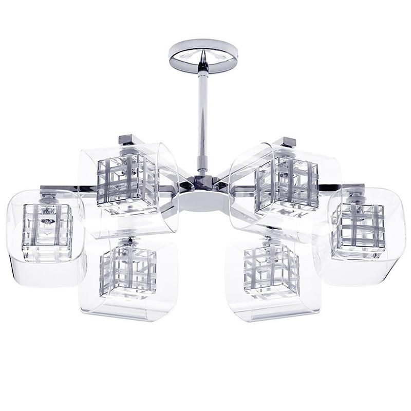 Lille Chrome Lattice Cube semi flush ceiling light