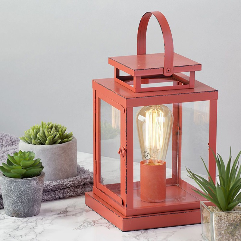 Vintage Lantern Table Lamp in Red