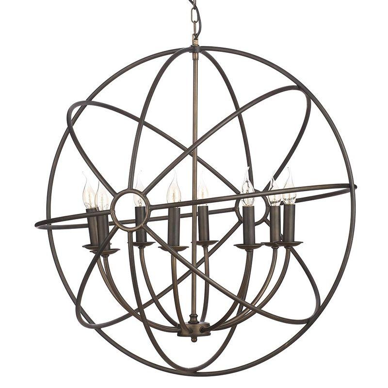 New Orbital 8 Light Gyro Inspired Ceiling Pendant - Rust