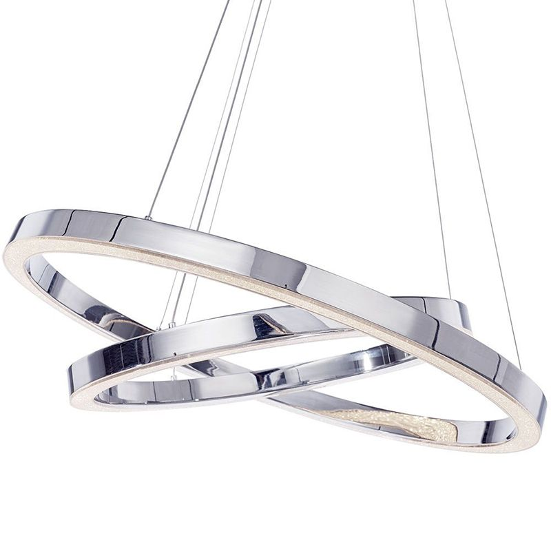 Spark LED Dual Hoop Ceiling Pendant Light - Chrome