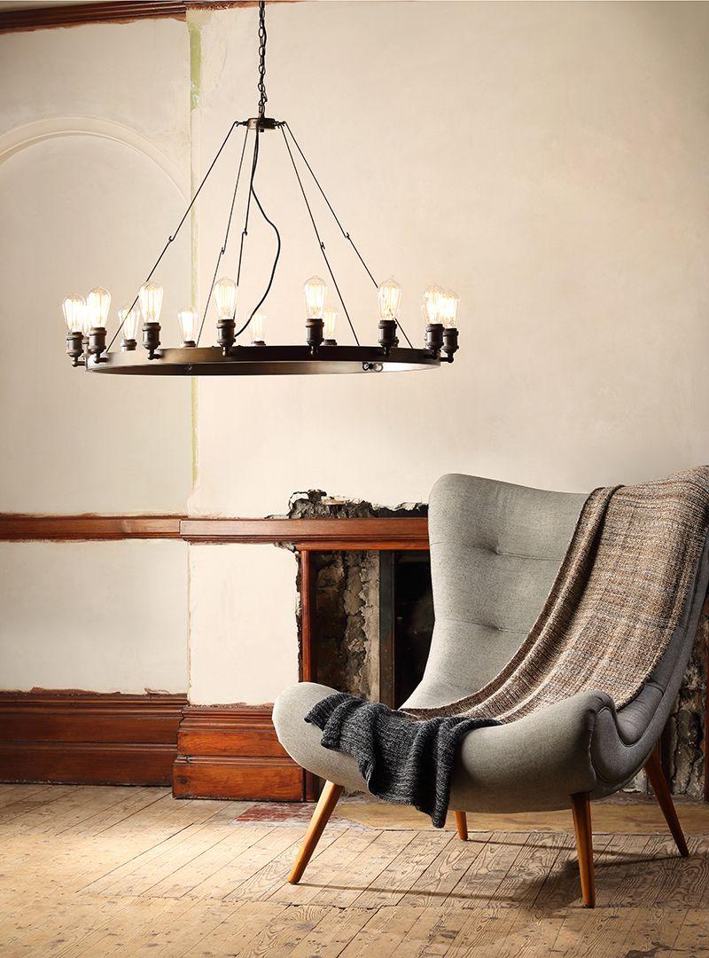 New Lighting : Carter 15 Light Vintage Style Industrial Cartwheel Ceiling Pendant
