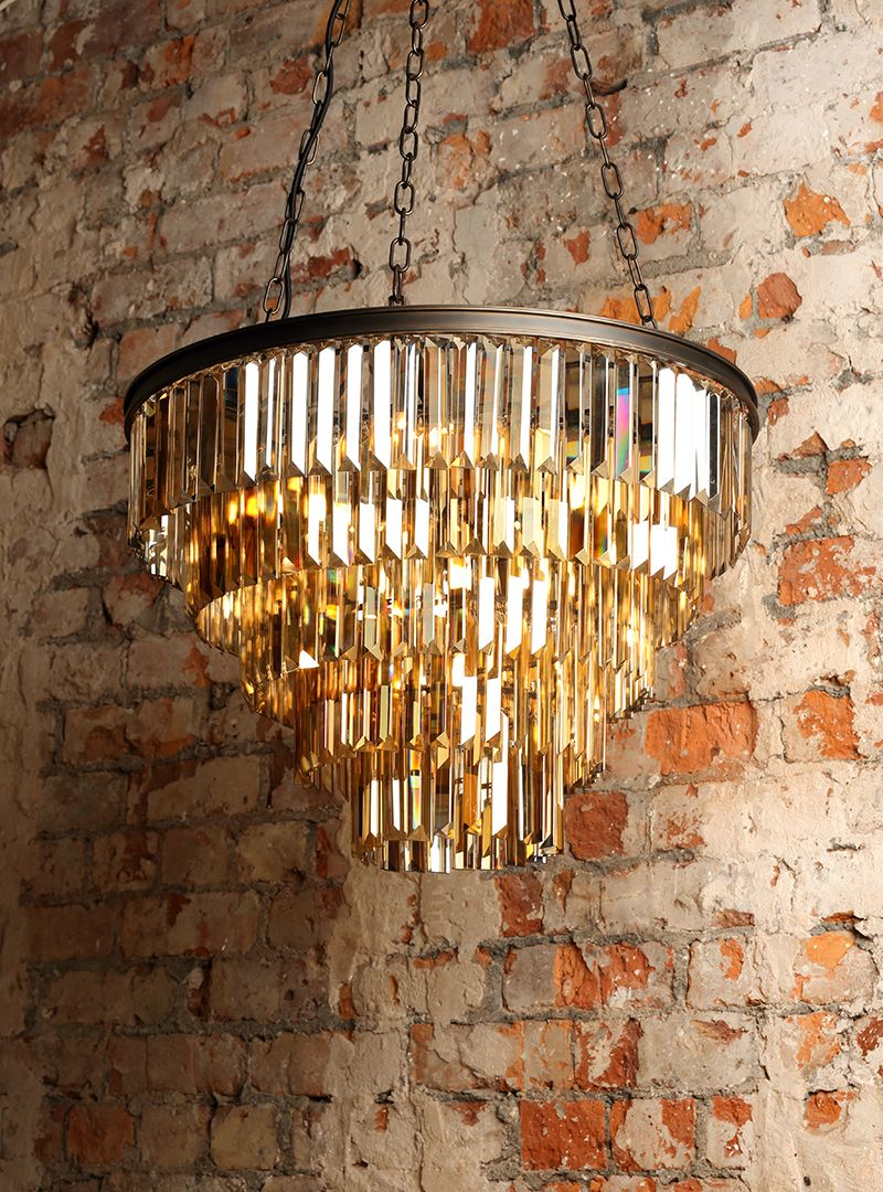 New Lighting : Ingot 10 Light Crystal Prism Bar Ceiling Pendant