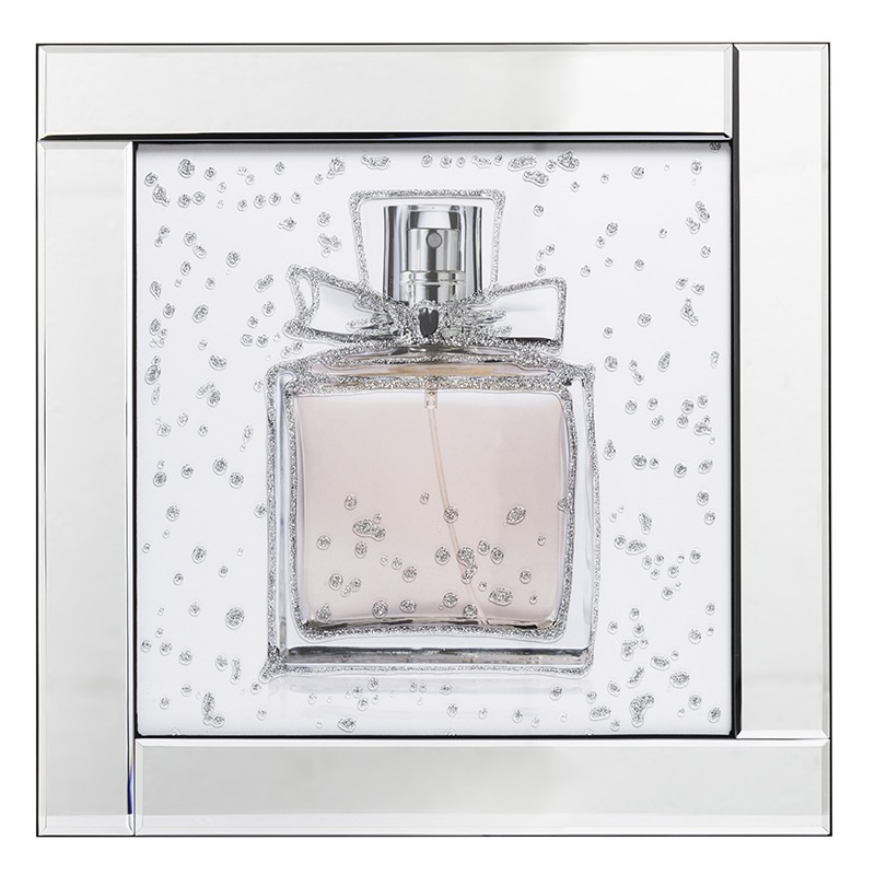 Brand New Mirrored Wall Art from our Homeware range Perfume Bottle Mirrored Picture Frame - Silver
