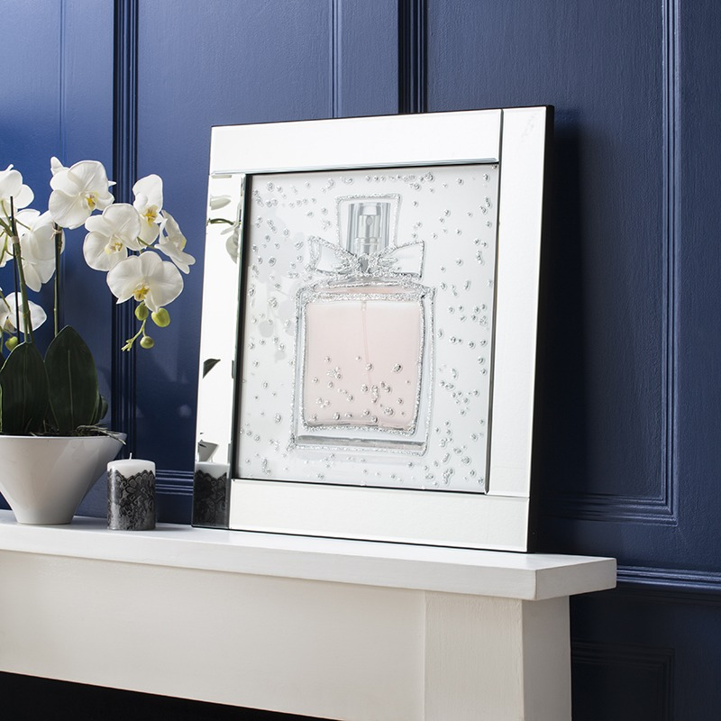 New Mirrored Wall Art - Perfume Bottle Mirrored Picture Frame - Silver