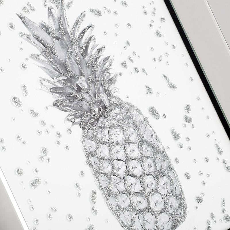 Tropical Pineapple Mirrored Picture Frame - Silver