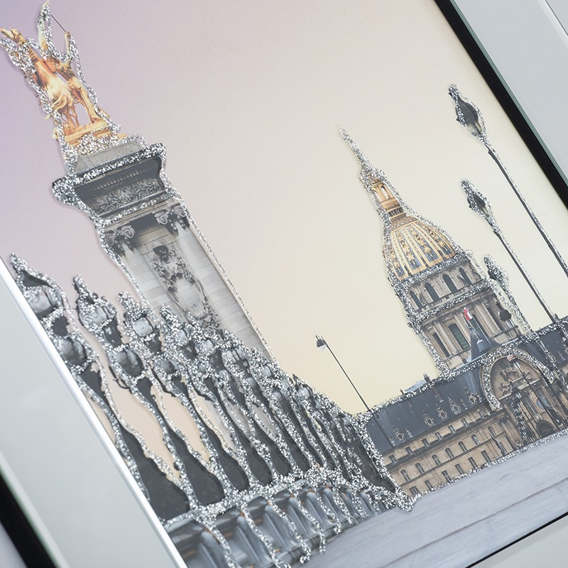 New Mirrored Wall Art - Les Invalides Paris Mirrored Picture Frame - Silver