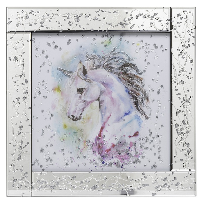 New Mirrored Wall Art - Unicorn Mirrored Picture Frame - Silver