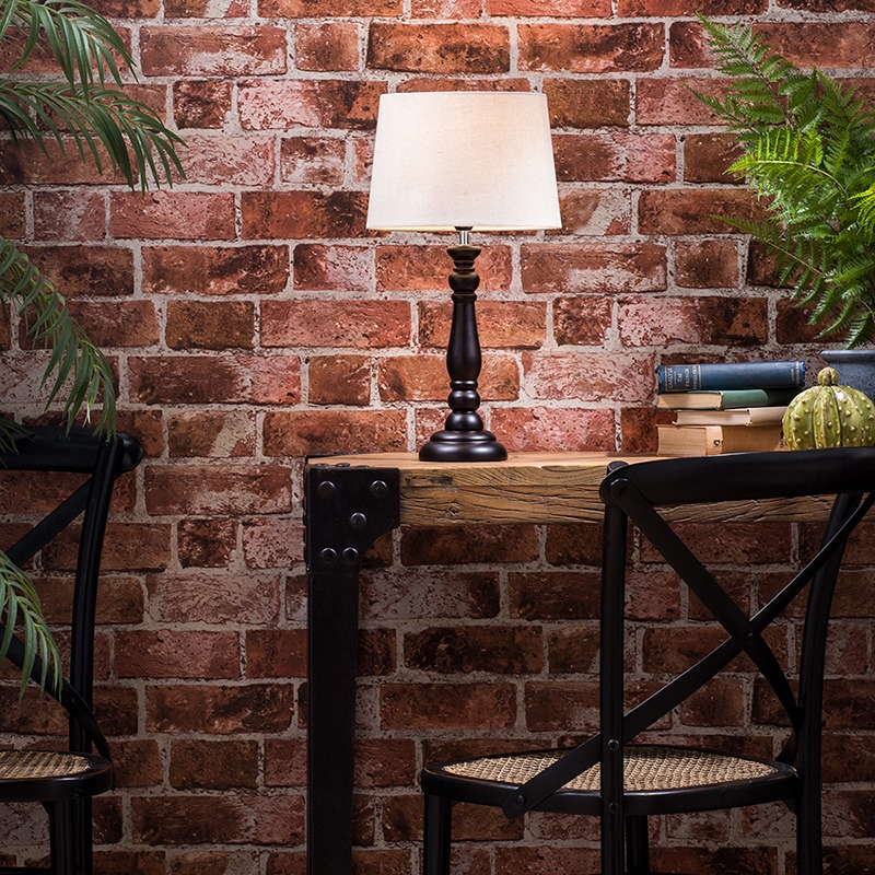 Get the Refined Industrial Look - Traditional Style Table Lamp with Light Grey Drum Shade - Black
