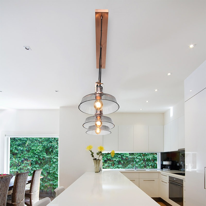 Breakfast Bar pendant light above white table in white kitchen